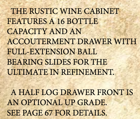 Glacier Country Rustic Wine Cabinet features