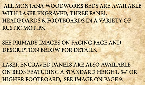 Montana Rustic Bed with Laser Engraved Design details
