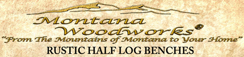 Glacier Country rustic half log benches logo