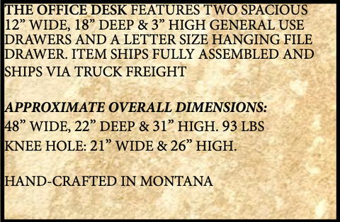 Montana Rustic Office Desk Features