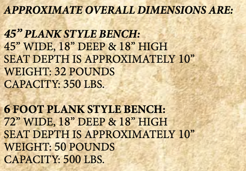 Homestead rustic plank benches dimensions