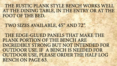 Homestead rustic plank benches features
