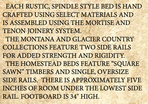 Homestead Spindle Style Rustic Bed details