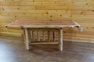 Rustic Trestle Dining Table - Red Cedar by Wildwood Rustics