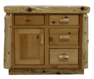 Rustic Cedar Bathroom Vanity with Slab Style Top