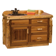Load image into Gallery viewer, Rustic Cedar Bathroom Vanity with Slab Style Top