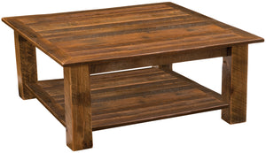 Rustic Coffee Table Open Square Style with Shelf - Barnwood