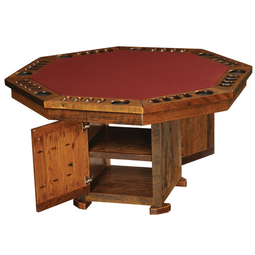 Rustic Poker Table - Barnwood with Storage Base
