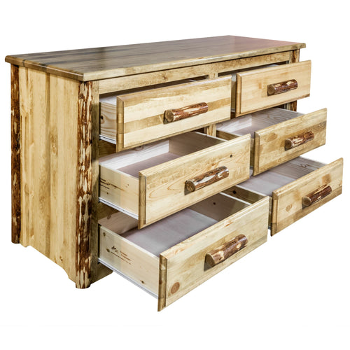 Glacier Country 6 Drawer Rustic Log Dresser