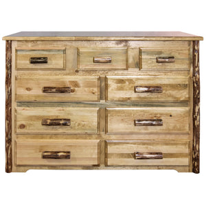Glacier Country 9 Drawer Rustic Log Dresser