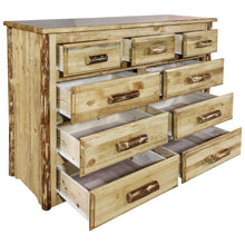Load image into Gallery viewer, Glacier Country 9 Drawer Rustic Log Dresser