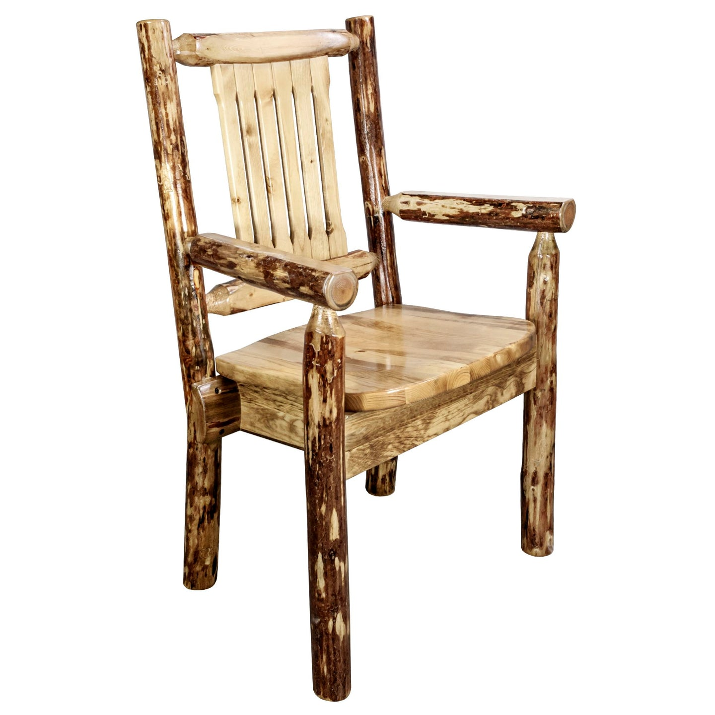 Glacier Country Rustic Captain's Chair w. Ergonomic Wooden Seat