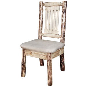 Glacier Country Rustic Captain's Chair w. Upholstered Seat - Buckskin