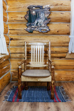 Load image into Gallery viewer, Glacier Country Rustic Captain's Chair w. Upholstered Seat - Buckskin