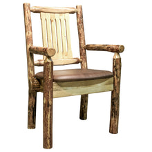 Load image into Gallery viewer, Glacier Country Rustic Captain's Chair w. Upholstered Seat - Saddle