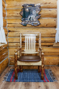 Glacier Country Rustic Captain's Chair w. Upholstered Seat - Saddle