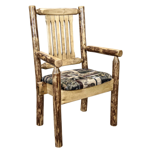 Glacier Country Rustic Captain's Chair w. Upholstered Seat - Woodland
