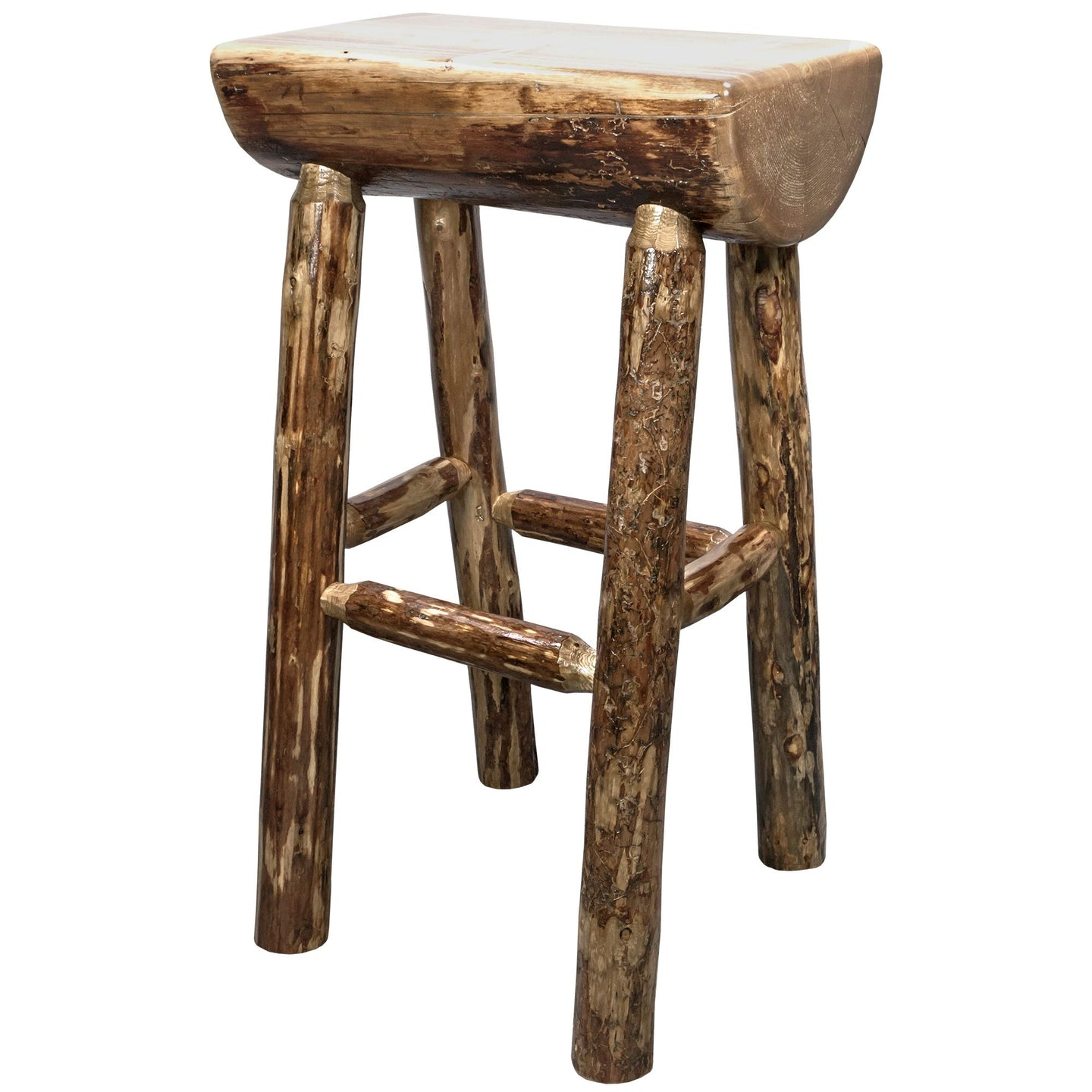 Glacier Country Counter Height Half Log Rustic Bar Stool