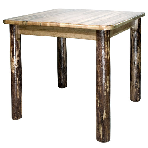 Glacier Country Counter Height Square 4 Post Rustic Dining Table