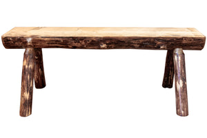 Glacier Country Half Log Wood Dining Bench