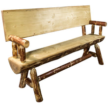 Load image into Gallery viewer, Glacier Country Half Log Wood Dining Bench w/ Back & Arms