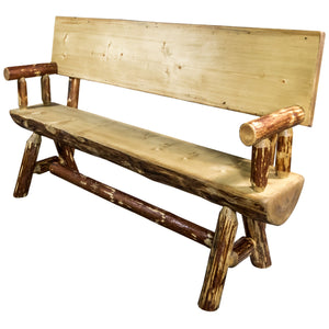 Glacier Country Half Log Wood Dining Bench w/ Back & Arms