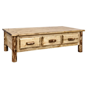 Glacier Country Large Rustic Coffee Table w/ 6 Drawers