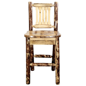Glacier Country Rustic Bar Stool with Back Ergonomic Wooden Seat