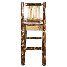 Load image into Gallery viewer, Glacier Country Rustic Bar Stool with Back Ergonomic Wooden Seat