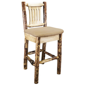 Glacier Country Rustic Bar Stool with Back Upholstered Seat Buckskin Pattern