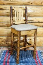 Load image into Gallery viewer, Glacier Country Rustic Bar Stool with Back Upholstered Seat Buckskin Pattern