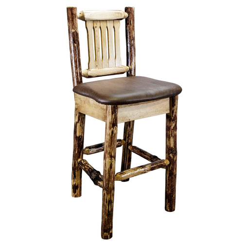 Glacier Country Rustic Bar Stool with Back Upholstered Seat Saddle Pattern