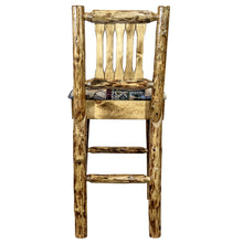 Load image into Gallery viewer, Glacier Country Rustic Bar Stool with Back Upholstered Seat Woodland Pattern