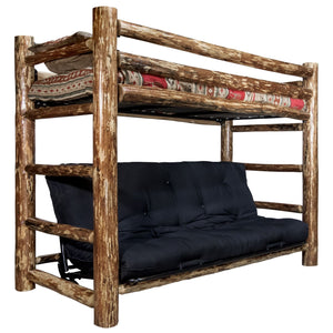 Glacier Country Rustic Bunk Bed with Futon