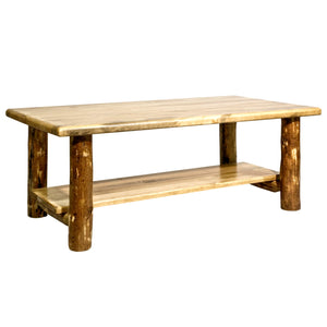Glacier Country Rustic Coffee Table w/ Shelf