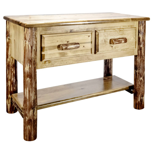 Glacier Country Rustic Console Table w/ 2 Drawers