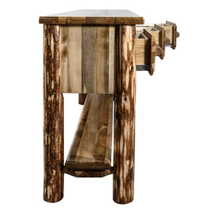 Glacier Country Rustic Console Table w/ 3 Drawers