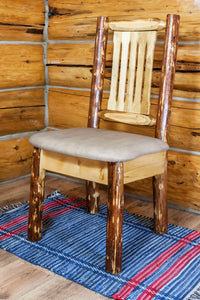 Glacier Country Rustic Dining Chair with Upholstered Seat, Buckskin Pattern