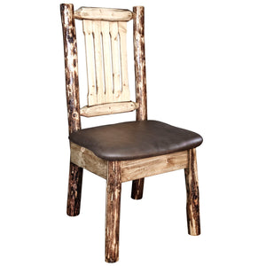Glacier Country Rustic Dining Chair with Upholstered Seat, Saddle Pattern