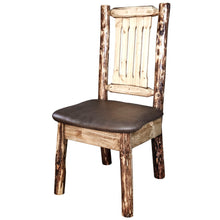 Load image into Gallery viewer, Glacier Country Rustic Dining Chair with Upholstered Seat, Saddle Pattern