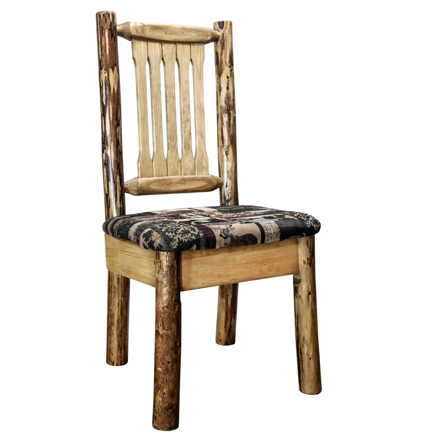 Glacier Country Rustic Dining Chair with Upholstered Seat, Woodland Pattern