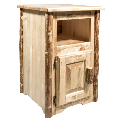 Glacier Country Rustic End Table w/ Door Left Hinged