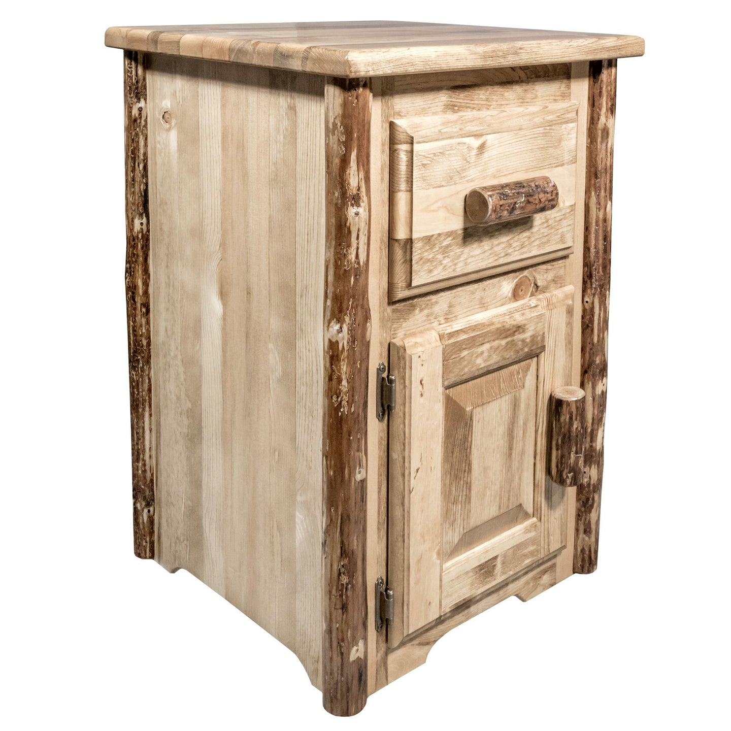 Glacier Country Rustic End Table w/ Drawer & Door Left Hinged