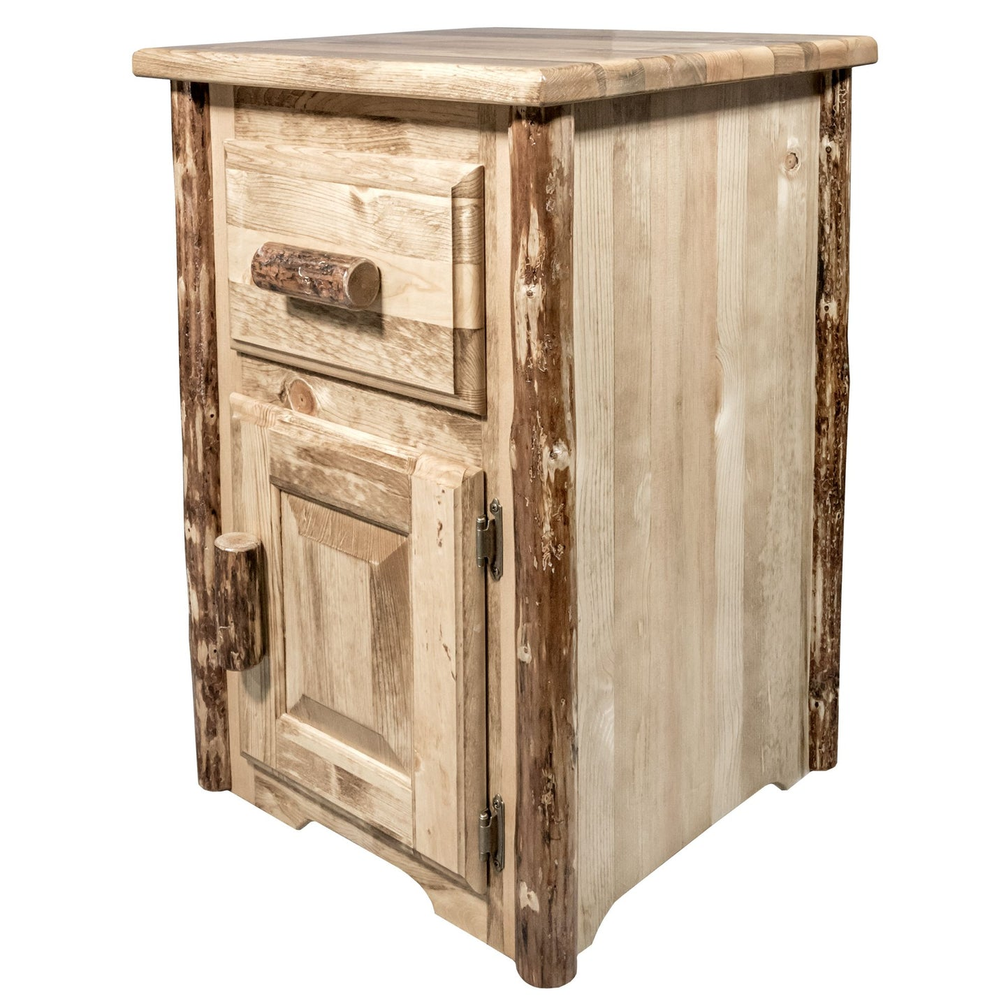 Glacier Country Rustic End Table w/ Drawer & Door Right Hinged
