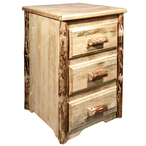 Glacier Country Rustic Nightstand with 3 Drawers