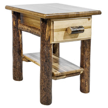 Load image into Gallery viewer, Glacier Country Rustic Nightstand with Drawer and Shelf