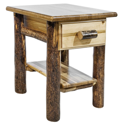 Glacier Country Rustic Nightstand with Drawer and Shelf