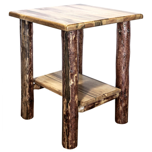 Glacier Country Rustic Nightstand with Shelf