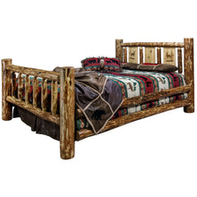 Load image into Gallery viewer, Glacier Rustic Bed with Laser Engraved Design