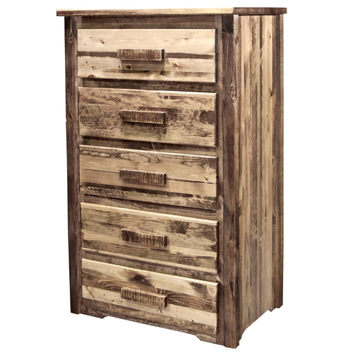 Homestead 5 Drawer Rustic Log Dresser